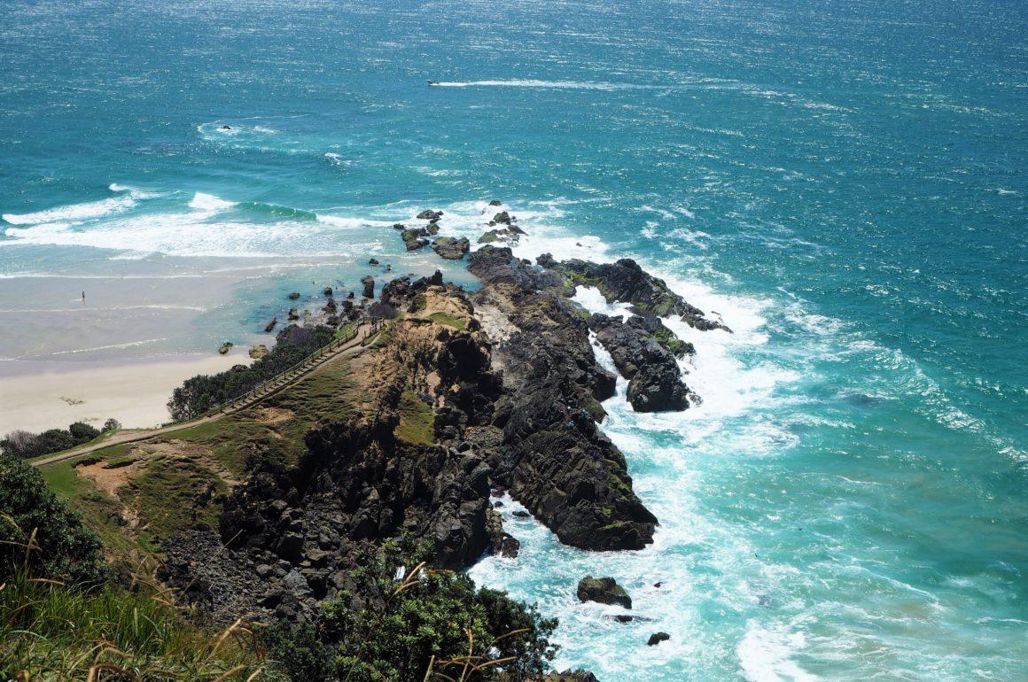Byron Bay výhled z nejvýchodnějšího bodu Austrálie, 2020