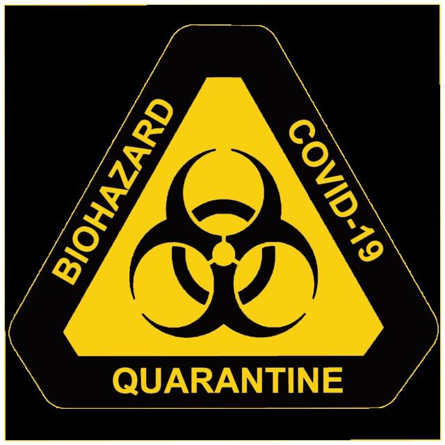 Biohazard, Covid-19, Quarantine značka